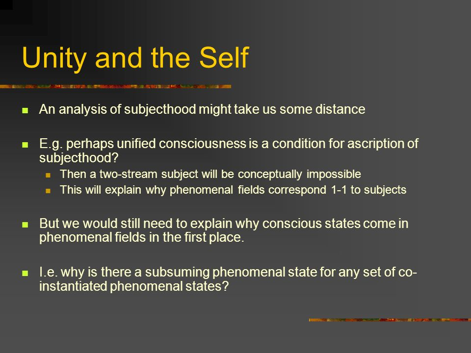 Unity and the Self An analysis of subjecthood might take us some distance E.g.