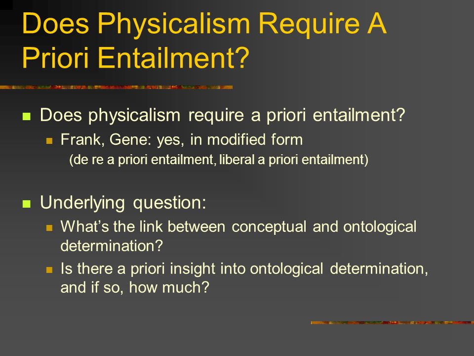 Does Physicalism Require A Priori Entailment. Does physicalism require a priori entailment.