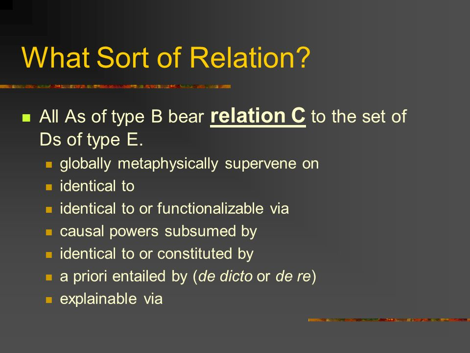 What Sort of Relation. All As of type B bear relation C to the set of Ds of type E.