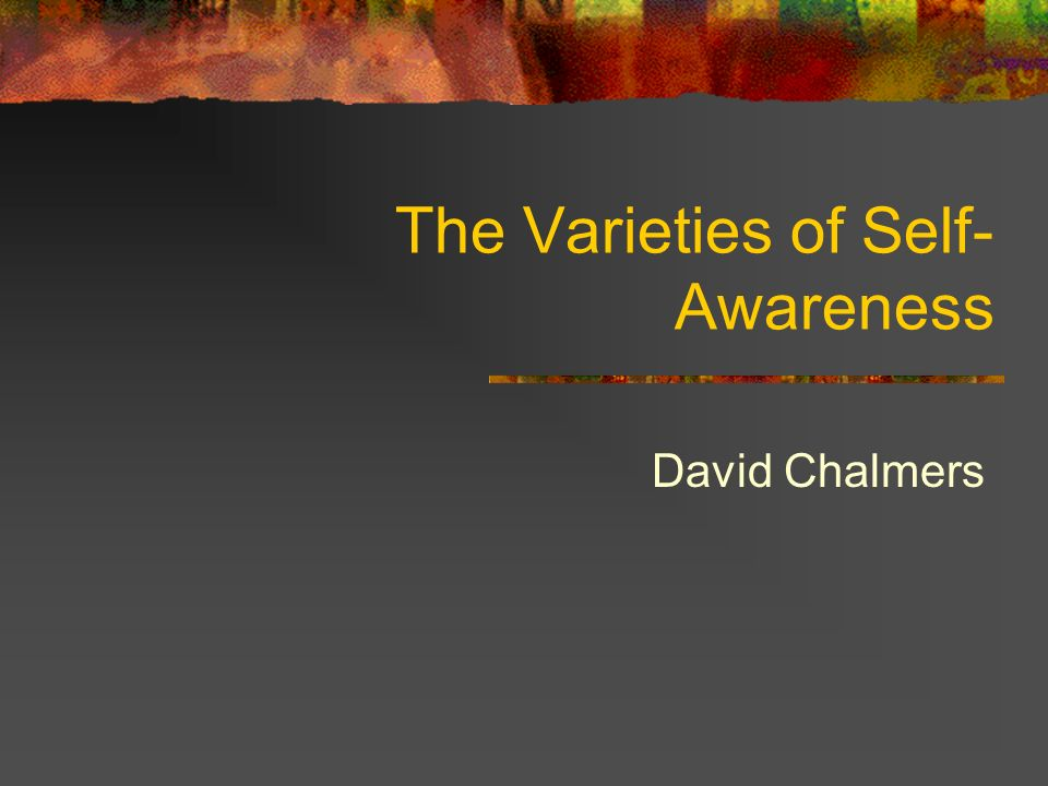 The Varieties of Self- Awareness David Chalmers