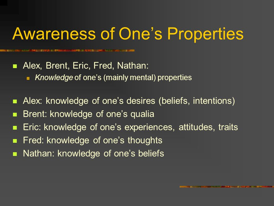 Awareness of Ones Properties Alex, Brent, Eric, Fred, Nathan: Knowledge of ones (mainly mental) properties Alex: knowledge of ones desires (beliefs, intentions) Brent: knowledge of ones qualia Eric: knowledge of ones experiences, attitudes, traits Fred: knowledge of ones thoughts Nathan: knowledge of ones beliefs