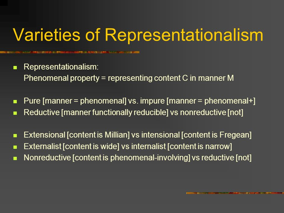 Varieties of Representationalism Representationalism: Phenomenal property = representing content C in manner M Pure [manner = phenomenal] vs.