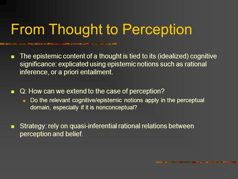 Endorsement I Endorsement: a relation between perceptual experiences and beliefs.