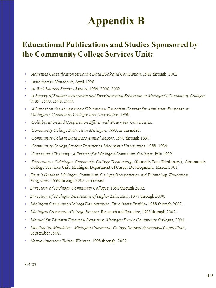 19 Educational Publications and Studies Sponsored by the Community College Services Unit: Activities Classification Structure Data Book and Companion,