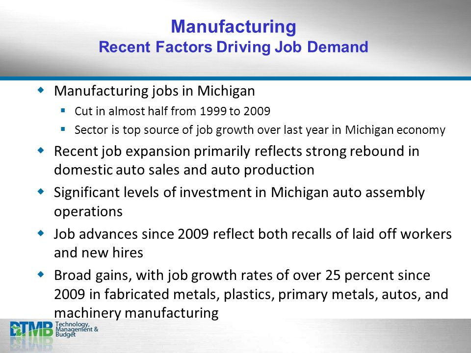 Manufacturing jobs in Michigan Cut in almost half from 1999 to 2009 Sector is top source of job growth over last year in Michigan economy Recent job expansion primarily reflects strong rebound in domestic auto sales and auto production Significant levels of investment in Michigan auto assembly operations Job advances since 2009 reflect both recalls of laid off workers and new hires Broad gains, with job growth rates of over 25 percent since 2009 in fabricated metals, plastics, primary metals, autos, and machinery manufacturing Manufacturing Recent Factors Driving Job Demand