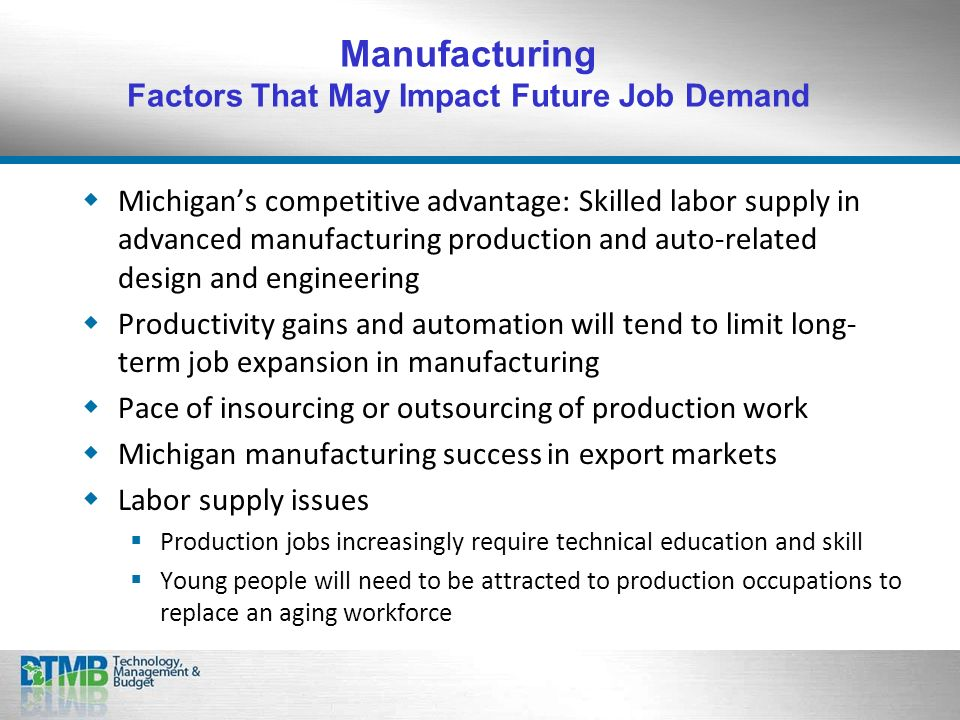 Michigans competitive advantage: Skilled labor supply in advanced manufacturing production and auto-related design and engineering Productivity gains and automation will tend to limit long- term job expansion in manufacturing Pace of insourcing or outsourcing of production work Michigan manufacturing success in export markets Labor supply issues Production jobs increasingly require technical education and skill Young people will need to be attracted to production occupations to replace an aging workforce Manufacturing Factors That May Impact Future Job Demand