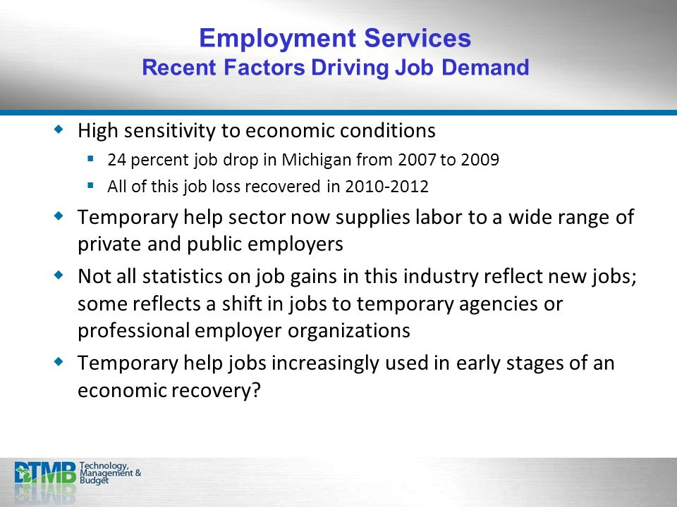 High sensitivity to economic conditions 24 percent job drop in Michigan from 2007 to 2009 All of this job loss recovered in Temporary help sector now supplies labor to a wide range of private and public employers Not all statistics on job gains in this industry reflect new jobs; some reflects a shift in jobs to temporary agencies or professional employer organizations Temporary help jobs increasingly used in early stages of an economic recovery.