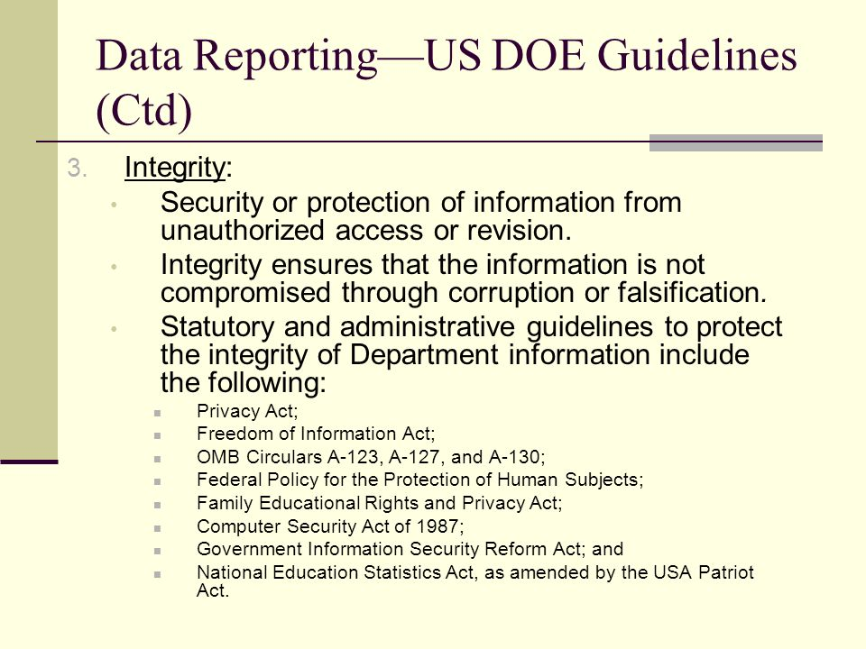 Data ReportingUS DOE Guidelines (Ctd) 3.