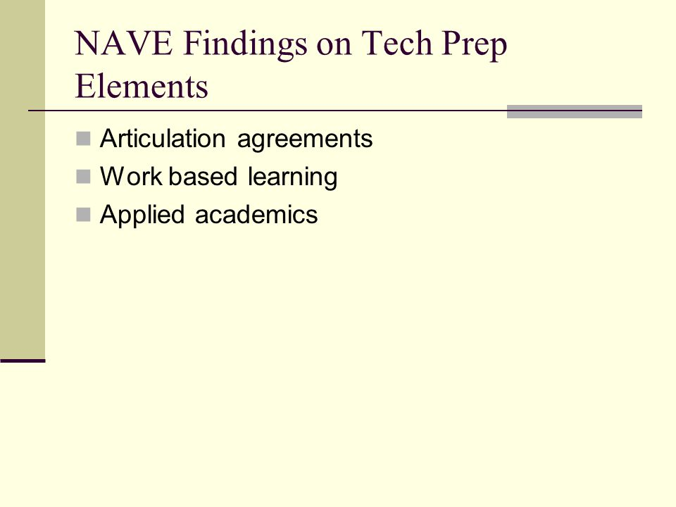 NAVE Findings on Tech Prep Elements Articulation agreements Work based learning Applied academics