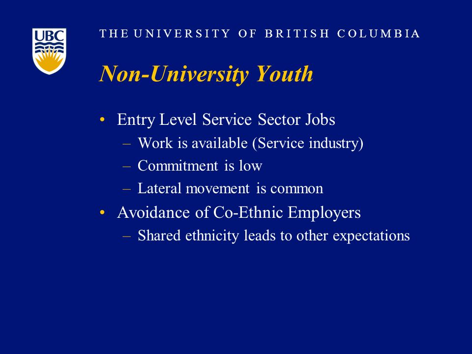 T H E U N I V E R S I T Y O F B R I T I S H C O L U M B I A Non-University Youth Entry Level Service Sector Jobs –Work is available (Service industry)