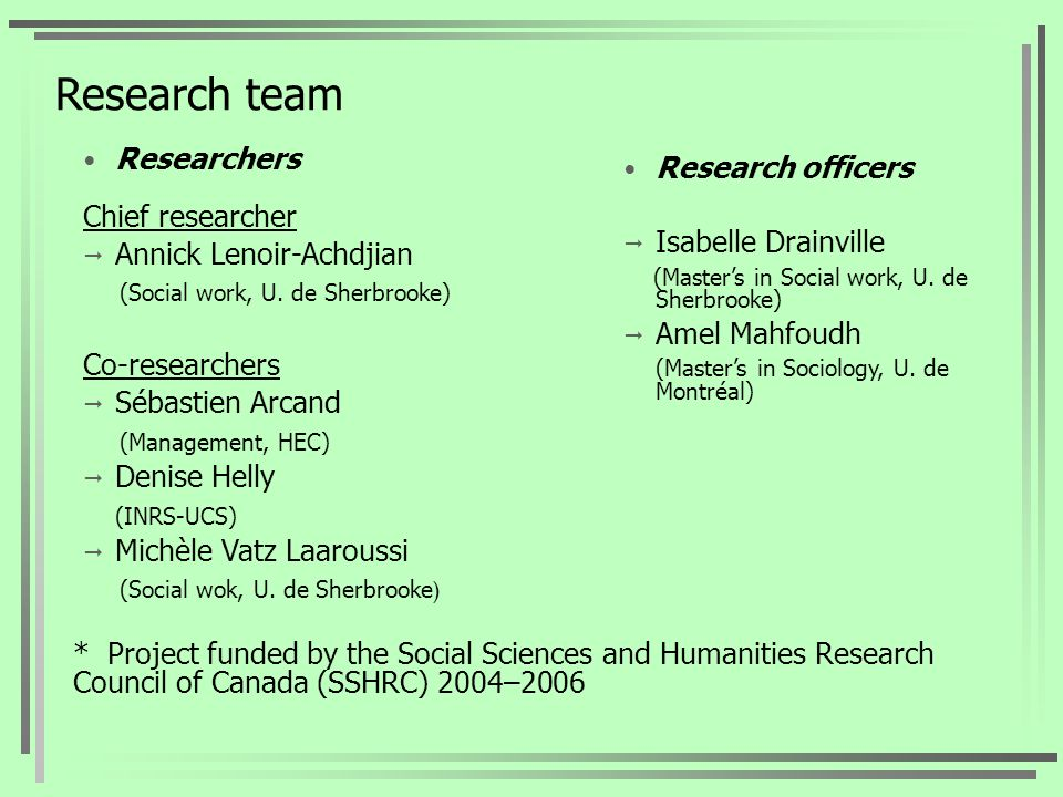 Research team Researchers Chief researcher Annick Lenoir-Achdjian (Social work, U.