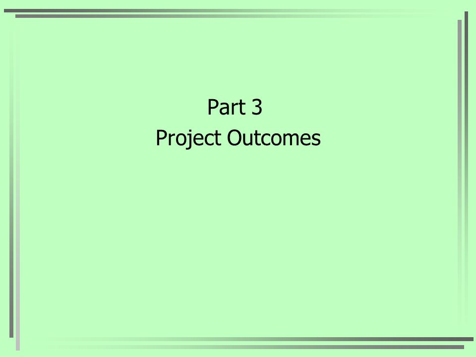 Part 3 Project Outcomes