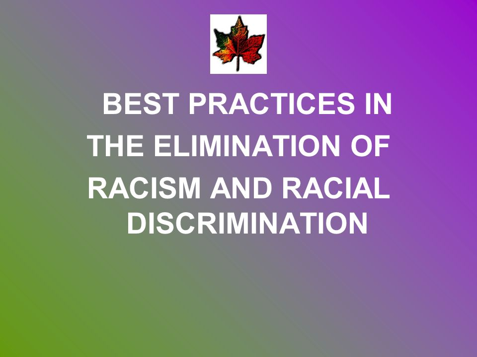 BEST PRACTICES IN THE ELIMINATION OF RACISM AND RACIAL DISCRIMINATION