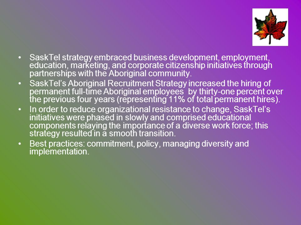 SaskTel strategy embraced business development, employment, education, marketing, and corporate citizenship initiatives through partnerships with the