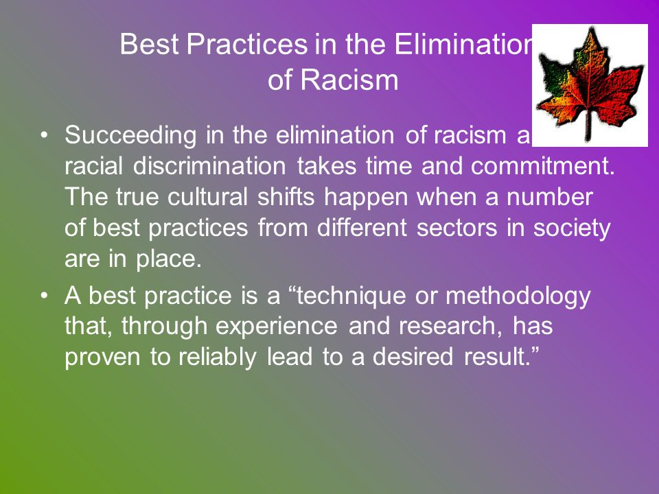 Best Practices in the Elimination of Racism Succeeding in the elimination of racism and racial discrimination takes time and commitment. The true cult