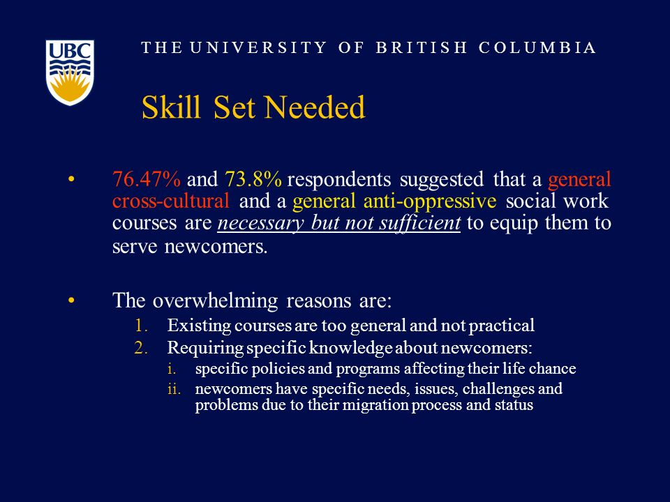 T H E U N I V E R S I T Y O F B R I T I S H C O L U M B I A Skill Set Needed 76.47% and 73.8% respondents suggested that a general cross-cultural and a general anti-oppressive social work courses are necessary but not sufficient to equip them to serve newcomers.