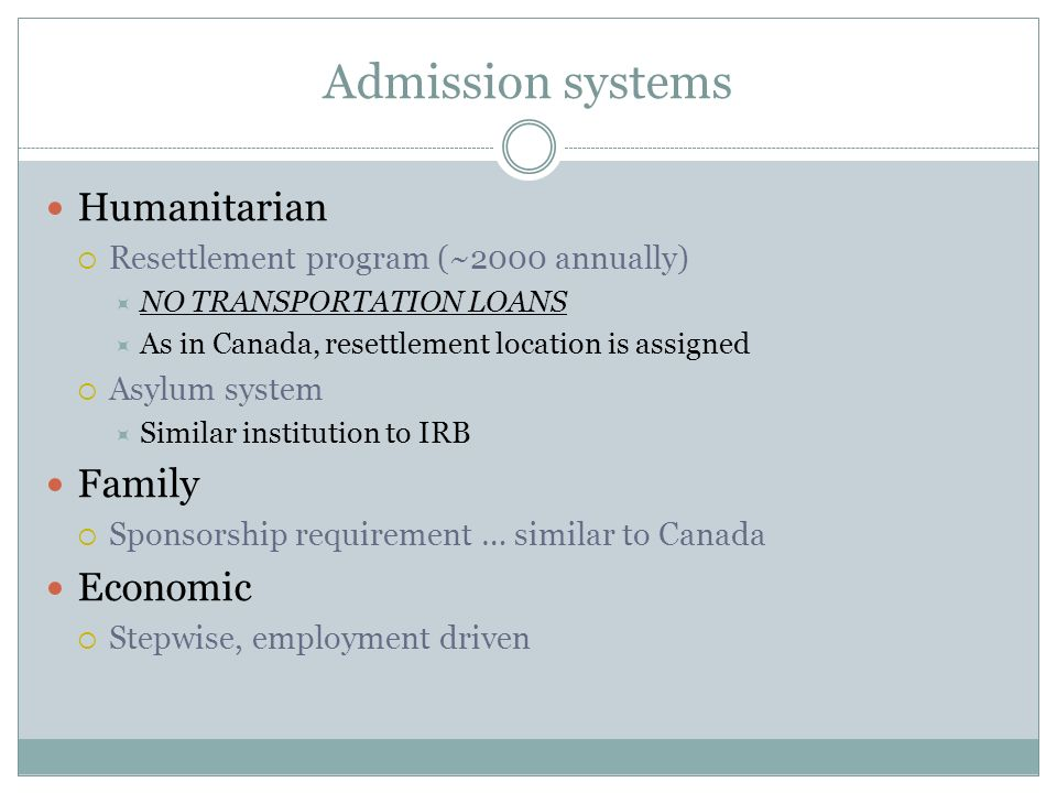 Admission systems Humanitarian Resettlement program (~2000 annually) NO TRANSPORTATION LOANS As in Canada, resettlement location is assigned Asylum sy