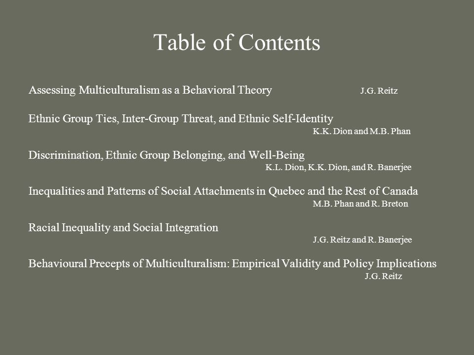 Table of Contents Assessing Multiculturalism as a Behavioral Theory J.G.