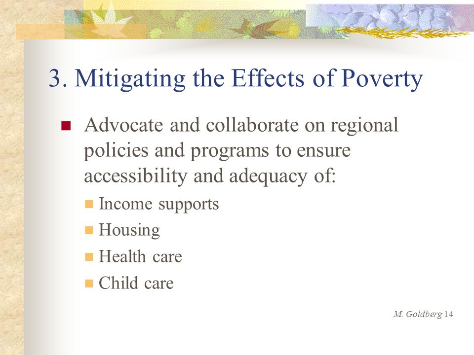 3. Mitigating the Effects of Poverty Advocate and collaborate on regional policies and programs to ensure accessibility and adequacy of: Income suppor