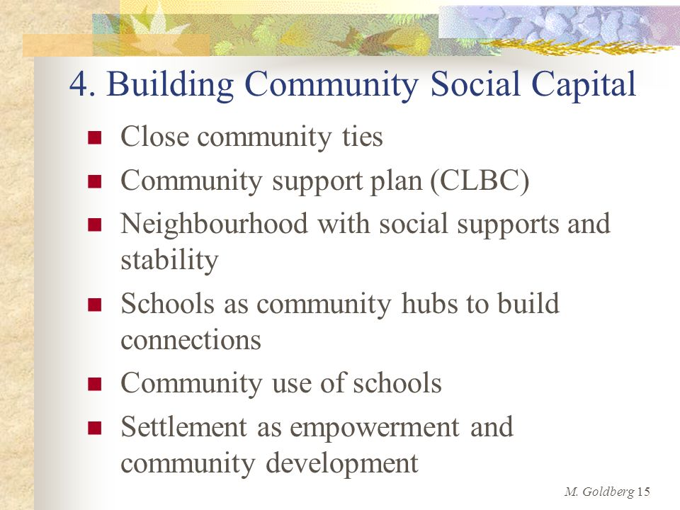 4. Building Community Social Capital Close community ties Community support plan (CLBC) Neighbourhood with social supports and stability Schools as co