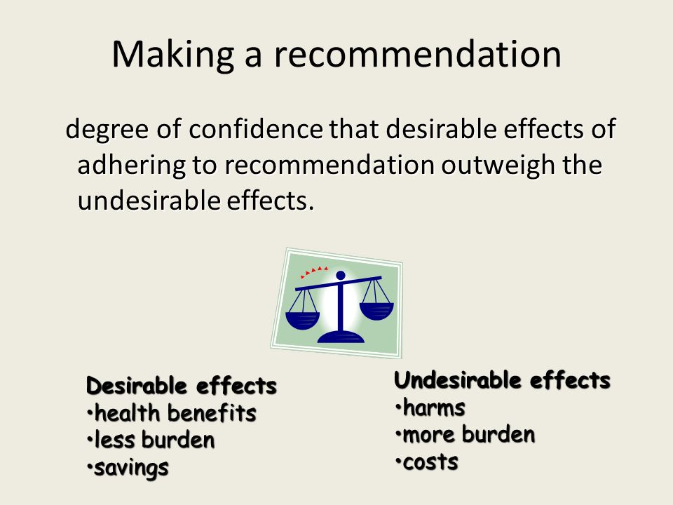Making a recommendation degree of confidence that desirable effects of adhering to recommendation outweigh the undesirable effects. degree of confiden