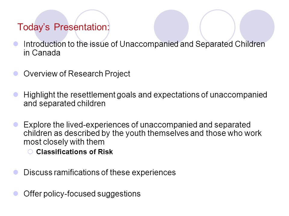 Introduction to the issue of Unaccompanied and Separated Children Who are Unaccompanied/Separated Children.