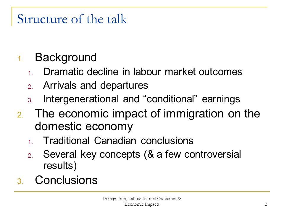 Immigration, Labour Market Outcomes & Economic Impacts 2 Structure of the talk 1.