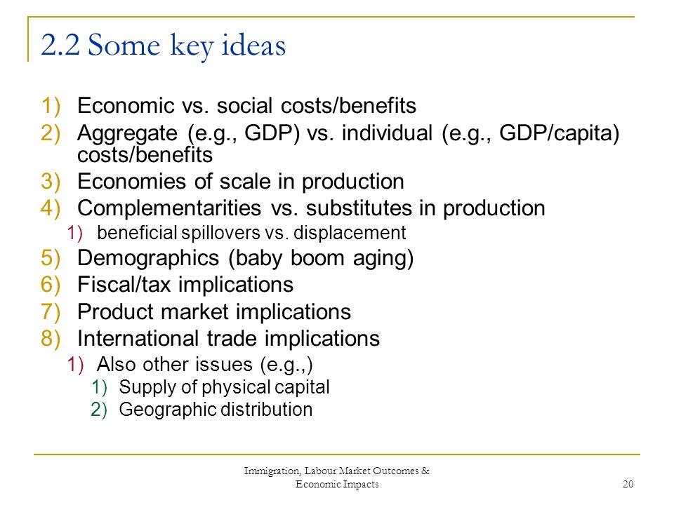 Immigration, Labour Market Outcomes & Economic Impacts 20 2.2 Some key ideas 1)Economic vs.