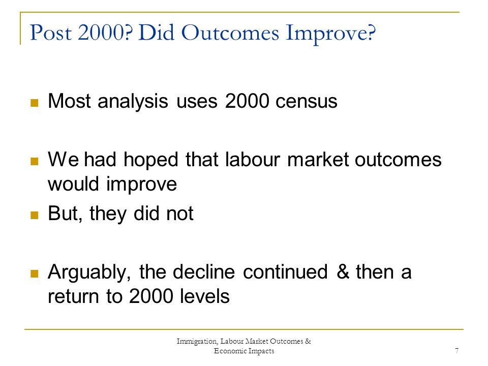 Immigration, Labour Market Outcomes & Economic Impacts 7 Post 2000.