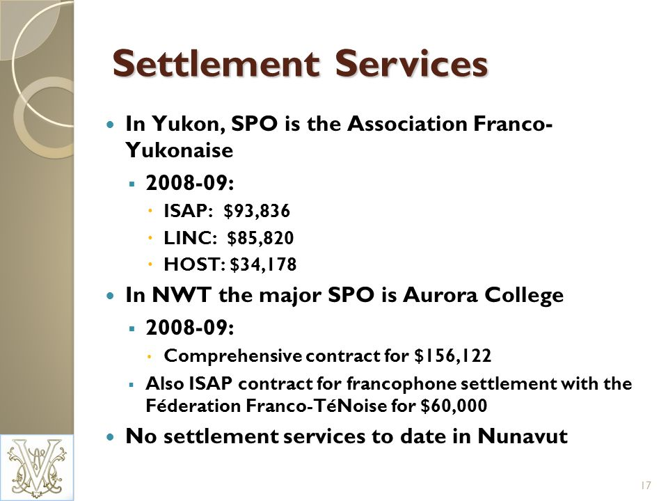 Settlement Services In Yukon, SPO is the Association Franco- Yukonaise 2008-09: ISAP: $93,836 LINC: $85,820 HOST: $34,178 In NWT the major SPO is Auro
