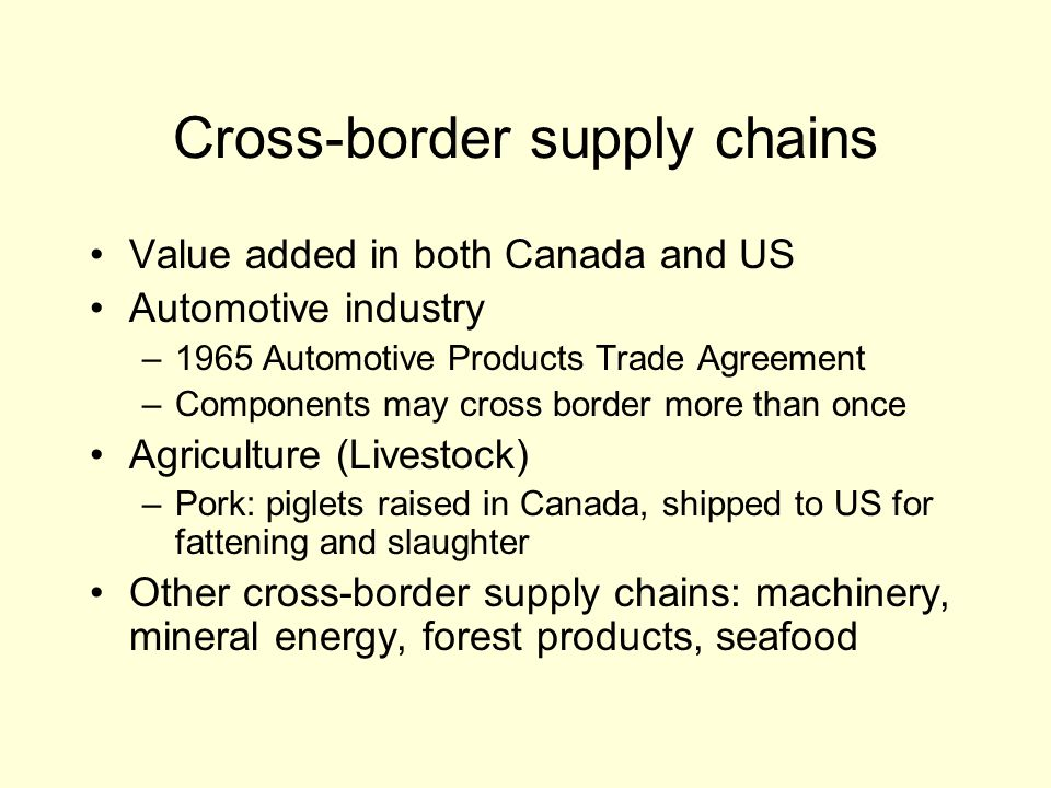 Cross-border supply chains Value added in both Canada and US Automotive industry –1965 Automotive Products Trade Agreement –Components may cross border more than once Agriculture (Livestock) –Pork: piglets raised in Canada, shipped to US for fattening and slaughter Other cross-border supply chains: machinery, mineral energy, forest products, seafood