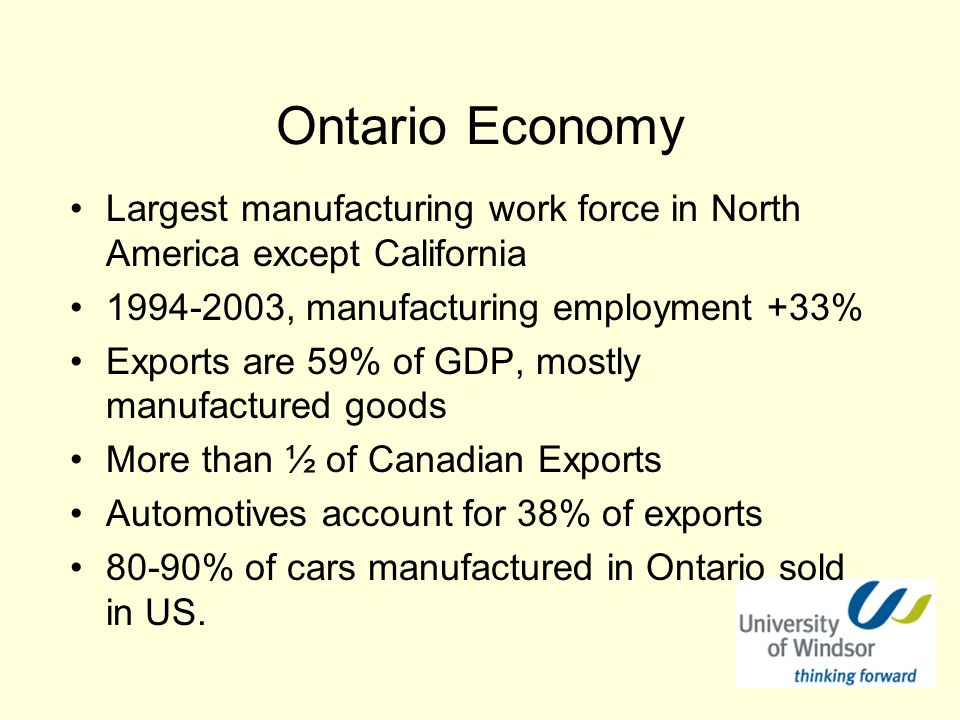 Ontario Economy Largest manufacturing work force in North America except California 1994-2003, manufacturing employment +33% Exports are 59% of GDP, mostly manufactured goods More than ½ of Canadian Exports Automotives account for 38% of exports 80-90% of cars manufactured in Ontario sold in US.