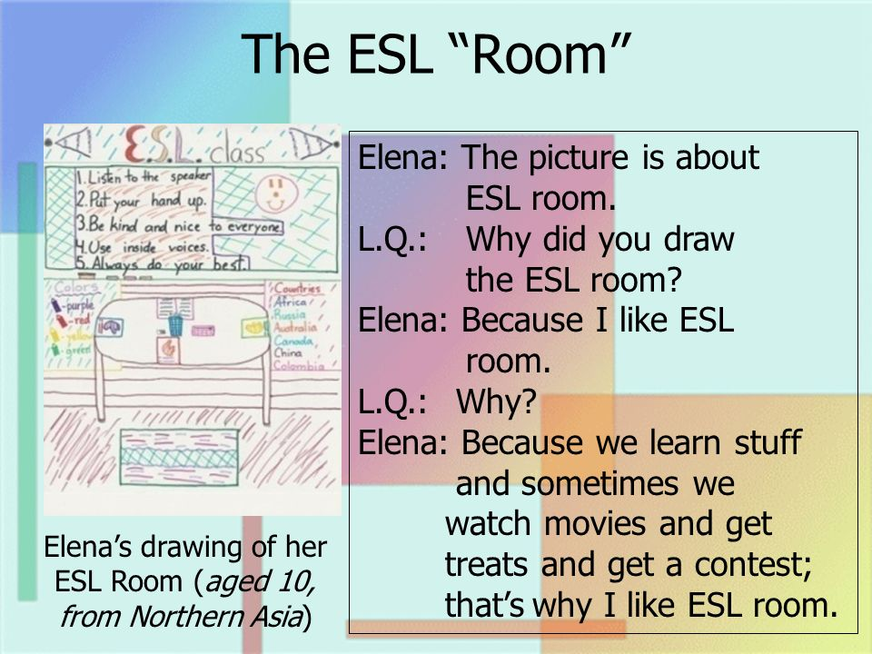 The ESL Room Elenas drawing of her ESL Room (aged 10, from Northern Asia) Elena: The picture is about ESL room. L.Q.: Why did you draw the ESL room? E