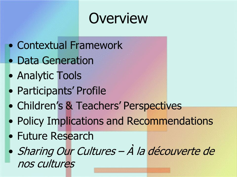 Overview Contextual Framework Data Generation Analytic Tools Participants Profile Childrens & Teachers Perspectives Policy Implications and Recommendations Future Research Sharing Our Cultures – À la découverte de nos cultures