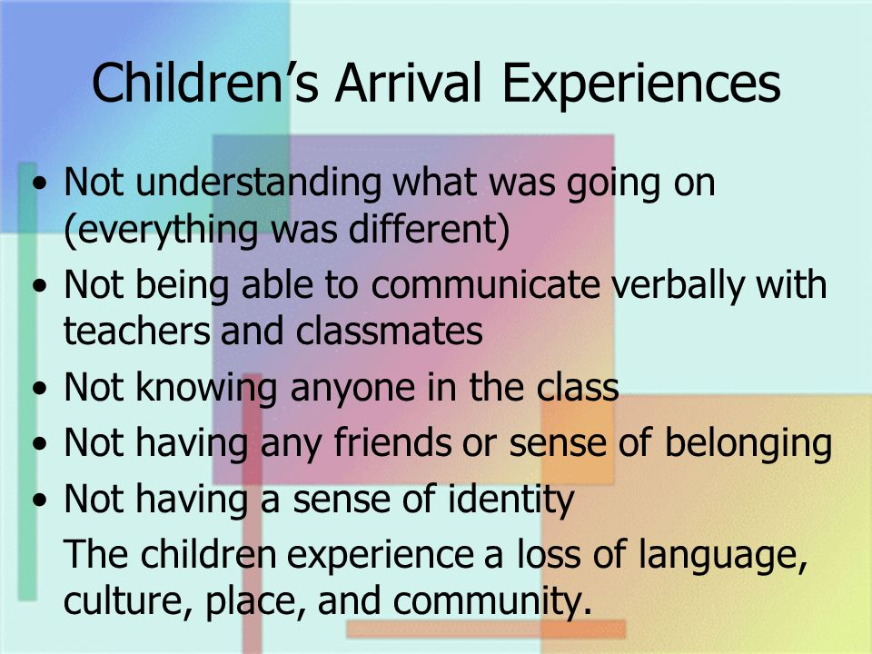Childrens Arrival Experiences Not understanding what was going on (everything was different) Not being able to communicate verbally with teachers and classmates Not knowing anyone in the class Not having any friends or sense of belonging Not having a sense of identity The children experience a loss of language, culture, place, and community.