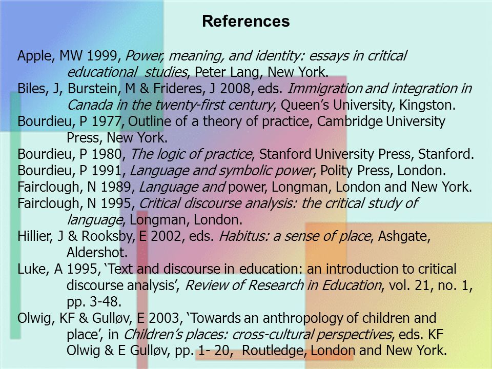References Apple, MW 1999, Power, meaning, and identity: essays in critical educational studies, Peter Lang, New York.
