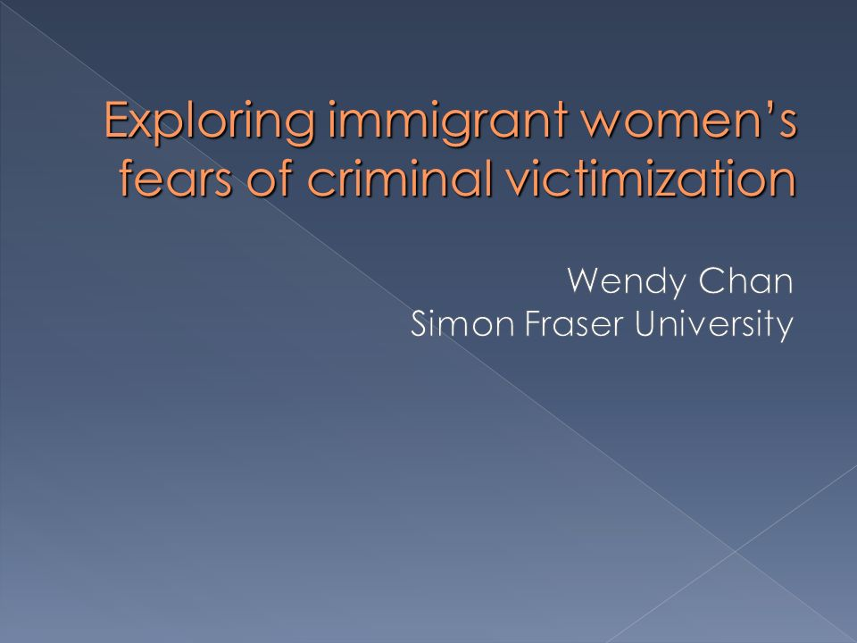 Overview Context of research – past studies and key themes Key findings of interviews with immigrant women in Vancouver Implications and future direction of research and policy on womens fear of crime