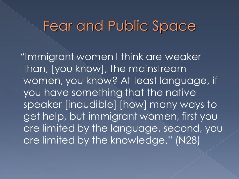 Fear and Public Space Immigrant women I think are weaker than, [you know], the mainstream women, you know? At least language, if you have something th