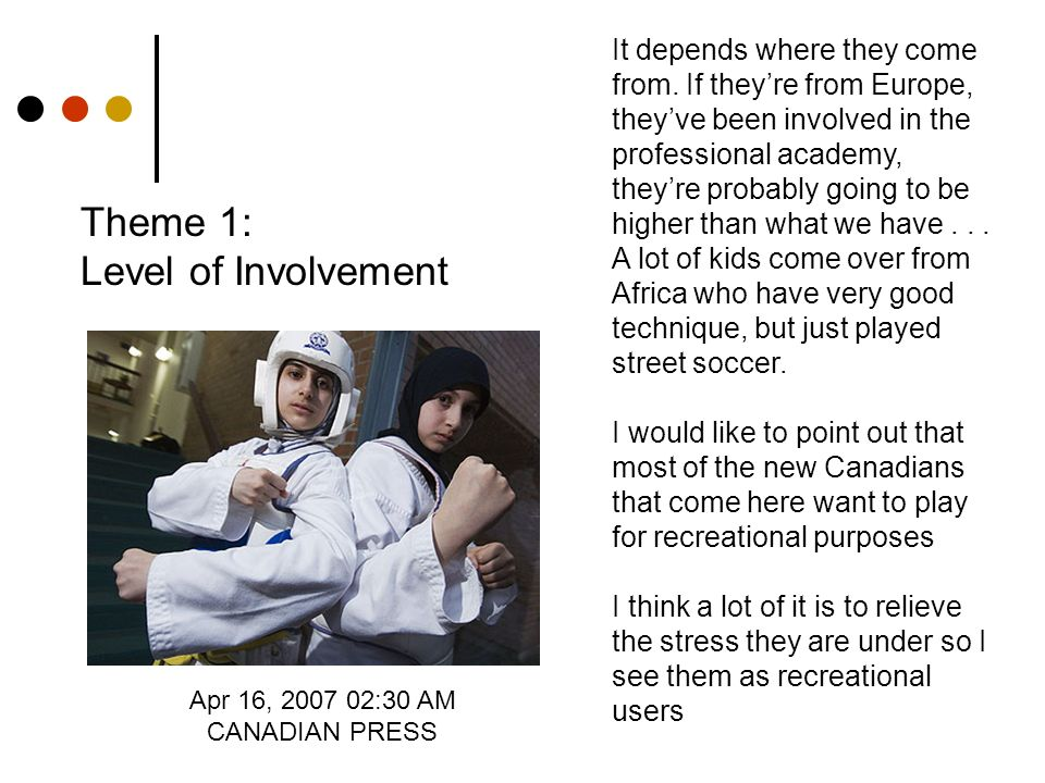 Theme 1: Level of Involvement Apr 16, 2007 02:30 AM CANADIAN PRESS It depends where they come from.
