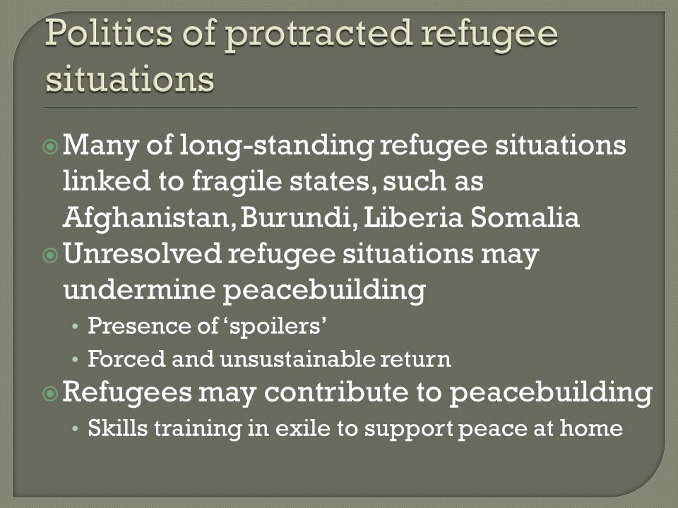 Many of long-standing refugee situations linked to fragile states, such as Afghanistan, Burundi, Liberia Somalia Unresolved refugee situations may und