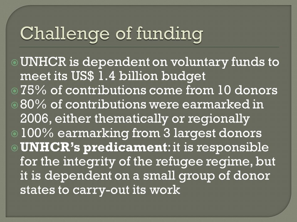 UNHCR is dependent on voluntary funds to meet its US$ 1.4 billion budget 75% of contributions come from 10 donors 80% of contributions were earmarked