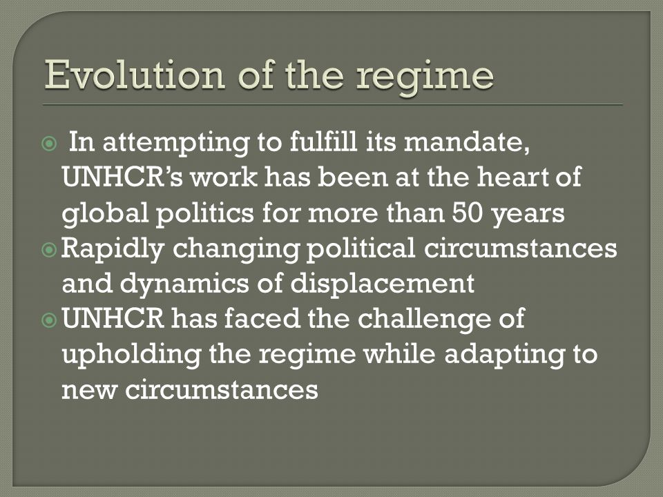 UNHCR may be more effective by placing greater emphasis on its ability to play a focused and strategic role UNHCRs catalytic and facilitative role Key requirements: Development of a more comprehensive, system- wide response within the United Nations UNHCR needs to be more politically engaged with the interests and capacities of states