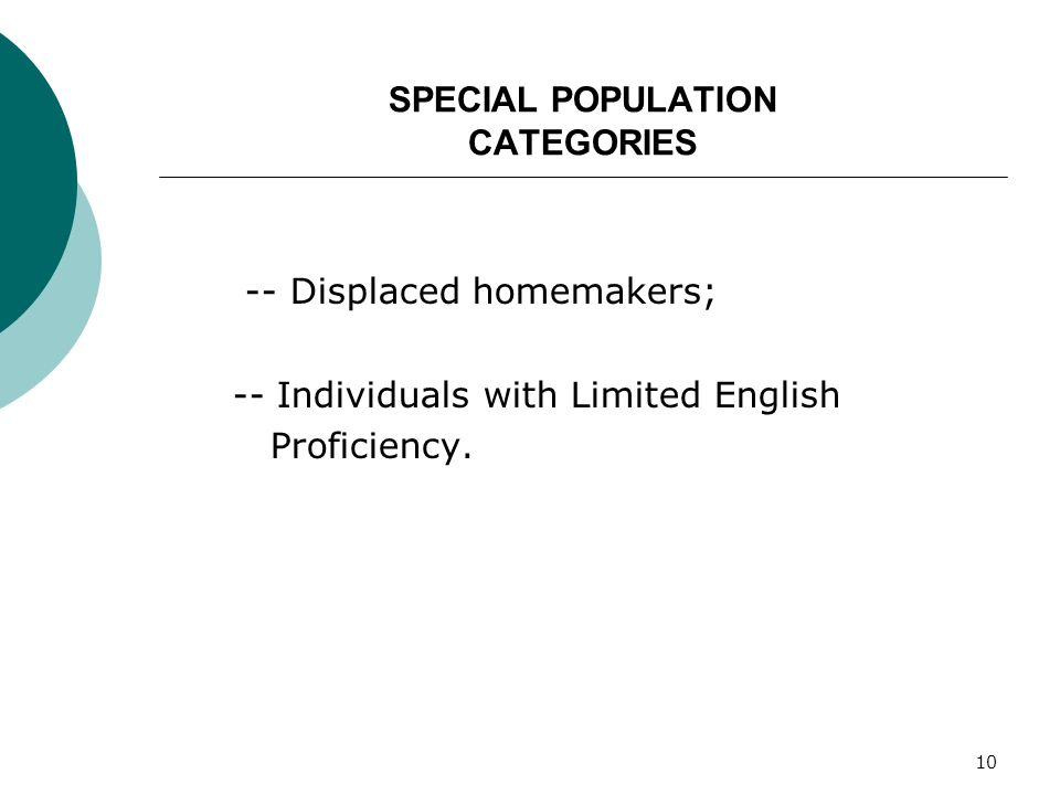 10 SPECIAL POPULATION CATEGORIES -- Displaced homemakers; -- Individuals with Limited English Proficiency.