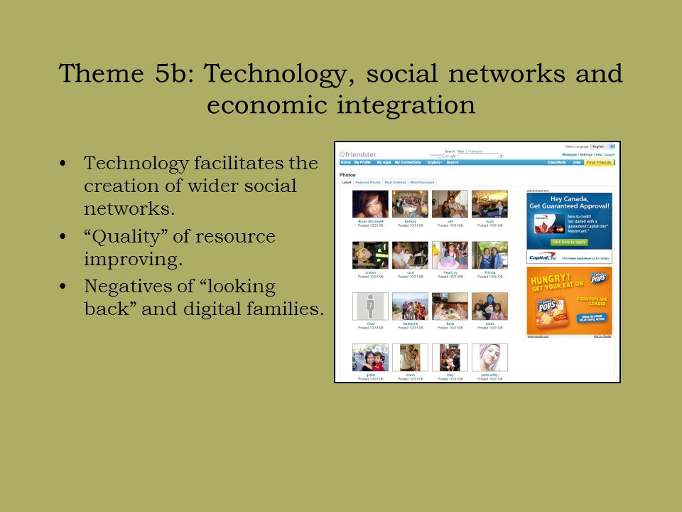 Theme 5b: Technology, social networks and economic integration Technology facilitates the creation of wider social networks.