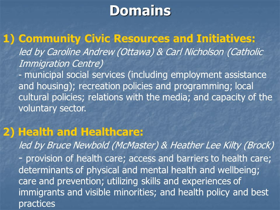 Domains 1) 1)Community Civic Resources and Initiatives: led by Caroline Andrew (Ottawa) & Carl Nicholson (Catholic Immigration Centre) - municipal social services (including employment assistance and housing); recreation policies and programming; local cultural policies; relations with the media; and capacity of the voluntary sector.