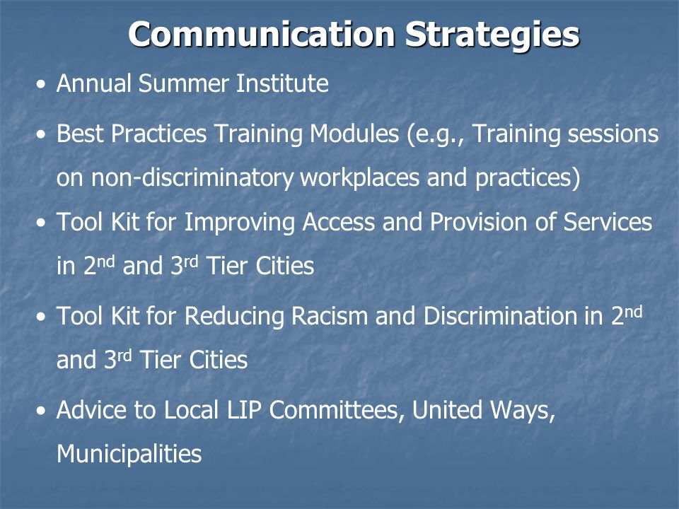 Communication Strategies Annual Summer Institute Best Practices Training Modules (e.g., Training sessions on non-discriminatory workplaces and practices) Tool Kit for Improving Access and Provision of Services in 2 nd and 3 rd Tier Cities Tool Kit for Reducing Racism and Discrimination in 2 nd and 3 rd Tier Cities Advice to Local LIP Committees, United Ways, Municipalities