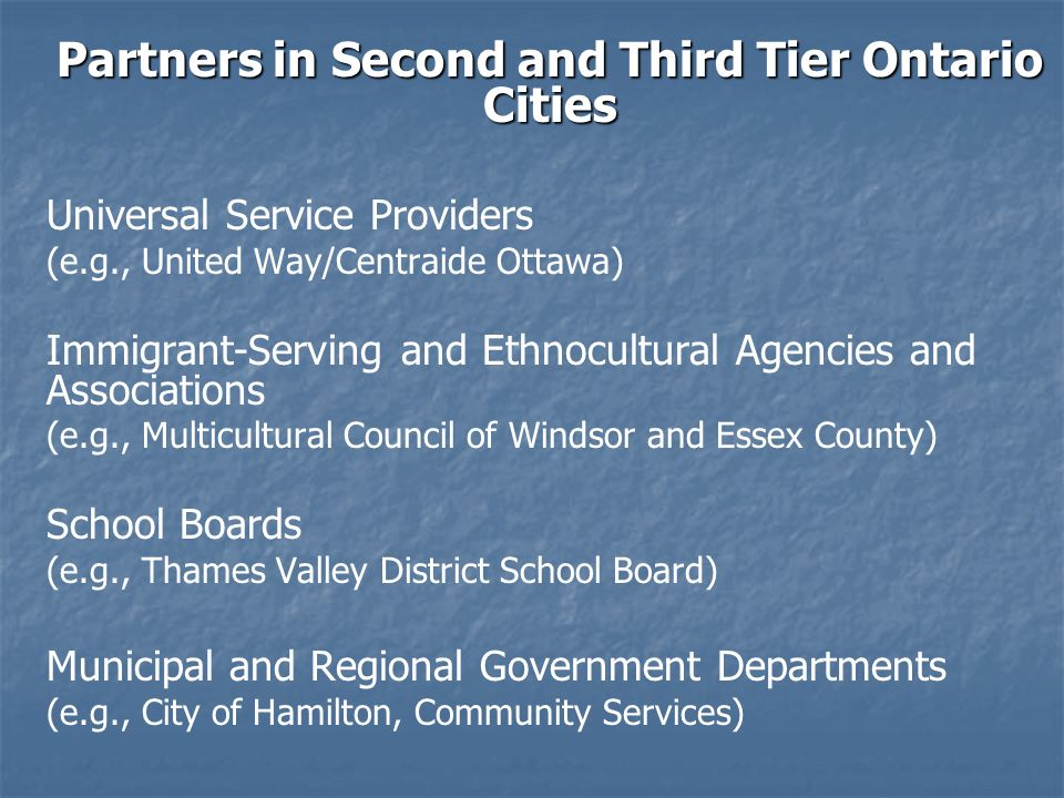 Partners in Second and Third Tier Ontario Cities Universal Service Providers (e.g., United Way/Centraide Ottawa) Immigrant-Serving and Ethnocultural Agencies and Associations (e.g., Multicultural Council of Windsor and Essex County) School Boards (e.g., Thames Valley District School Board) Municipal and Regional Government Departments (e.g., City of Hamilton, Community Services)