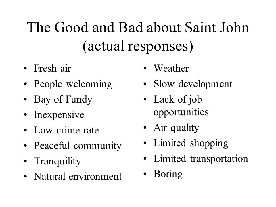 The Good and Bad about Saint John (actual responses) Fresh air People welcoming Bay of Fundy Inexpensive Low crime rate Peaceful community Tranquility Natural environment Weather Slow development Lack of job opportunities Air quality Limited shopping Limited transportation Boring