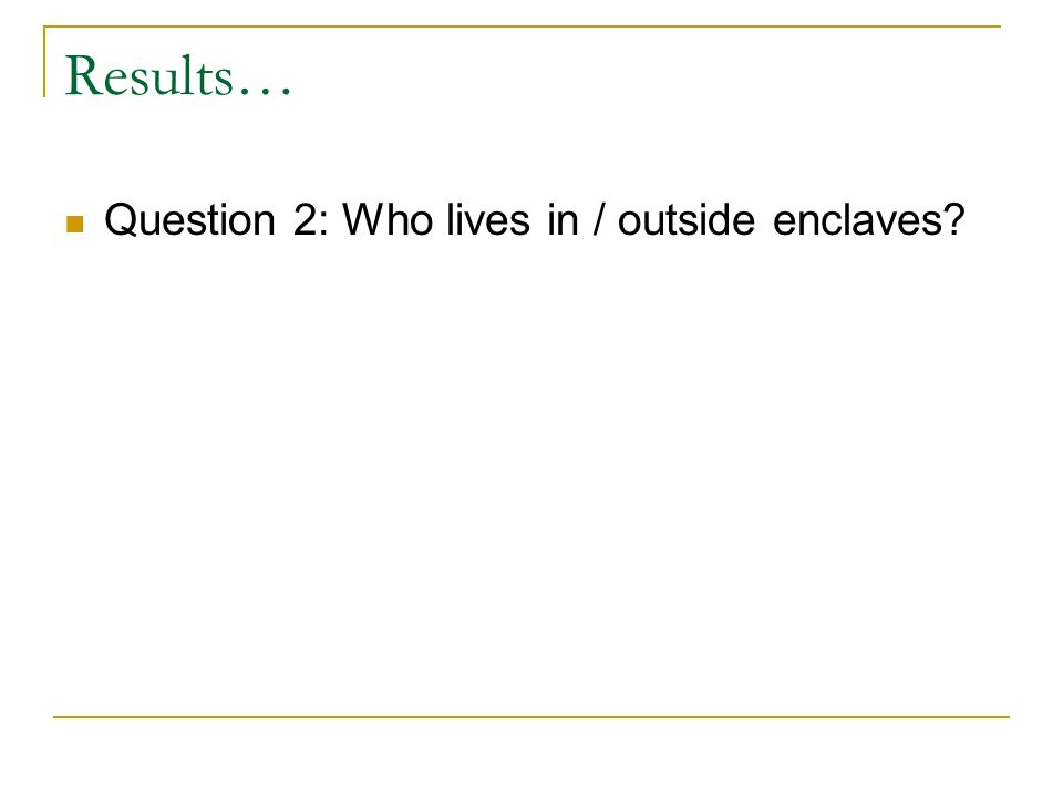 Results… Question 2: Who lives in / outside enclaves