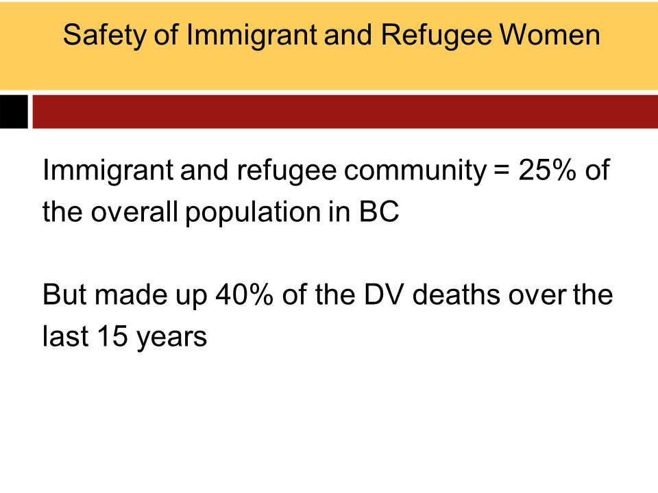 Immigrant and refugee community = 25% of the overall population in BC But made up 40% of the DV deaths over the last 15 years Safety of Immigrant and